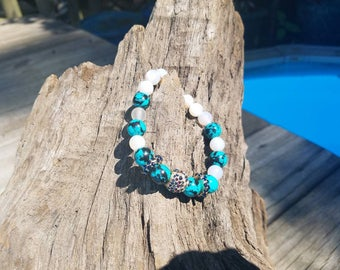 Turquoise and beaded with crystal accent bracelet
