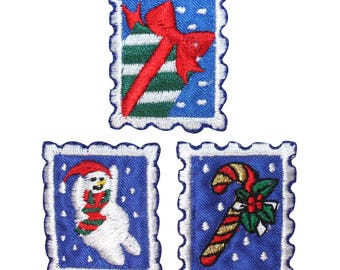 ID 8203ABC Set of 3 Christmas Stamp Patches Holiday Embroidered Iron On Applique