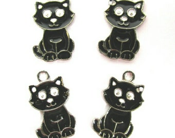 Halloween Witch Black Cat Charms | Black Cat Charms | Jewelry Charms | Bracelet Charms | Necklace Charms
