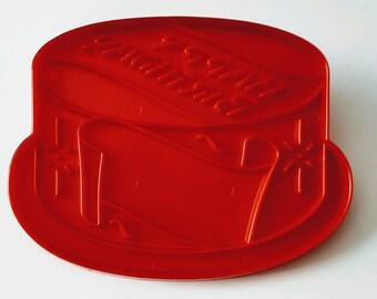 Vintage Happy Birthday Cake Imprint Cookie Cutter, Tupperware, Baking Supplies, Crafting