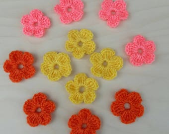 12 Crochet Mini Flowers for applications /  /4 Mini pink flowers, 4 Mini orange flowers,  4 Mini pink yellow / Crochet Flower Motif
