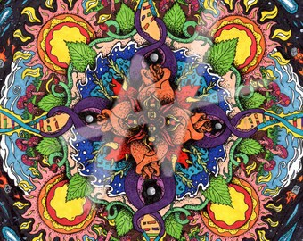 Bio Mandala Ink and Marker Illustration Art