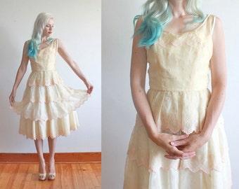 "1950s party dress | size xs bust 34"" waist 24"" | ivory organza dress"