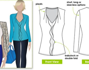 Patsy Top - Sizes 10, 12, 14 - Women's Sewing Pattern - Blouse / Top / Shirt Pattern by Style Arc