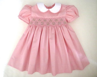 Lovely Light Pink and White Hand Smocked Dress for Baby Girl. Toddler Girl.