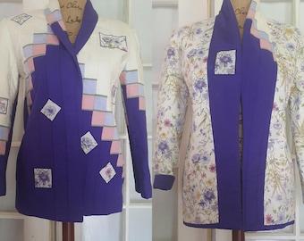 Vintage, reversible jacket, patchwork, quilted, pockets, purple, blue, cream, floral, avant garde, boho, medium, gift