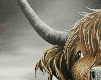 cow painting,oil painting of cow, Cow painting by Kampon
