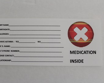 Medical ID Card, Add On Item for Epi Pen Carry Case, Extra Medical ID Cards