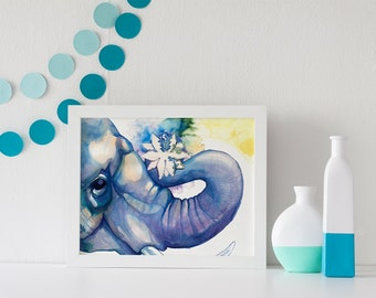 ART PRINT- Sizes: 5x7 / 8x10 / 11x14 - Elephant, Lotus