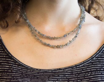 Labradorite Nugget Bead Double Strand Necklace