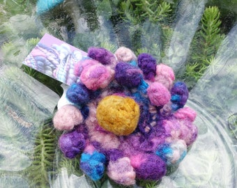 WHIRLFLOWER brooch (pin) or barrette - handdyed handspun handknit fulled felted wearable flower