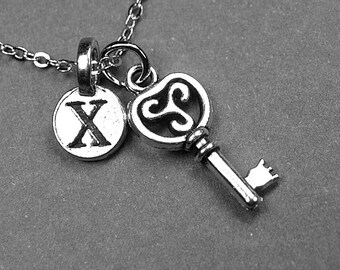 Key necklace, key charm, skeleton key necklace, skeleton key charm, key jewelry, personalized necklace, personalized charm, initial necklace