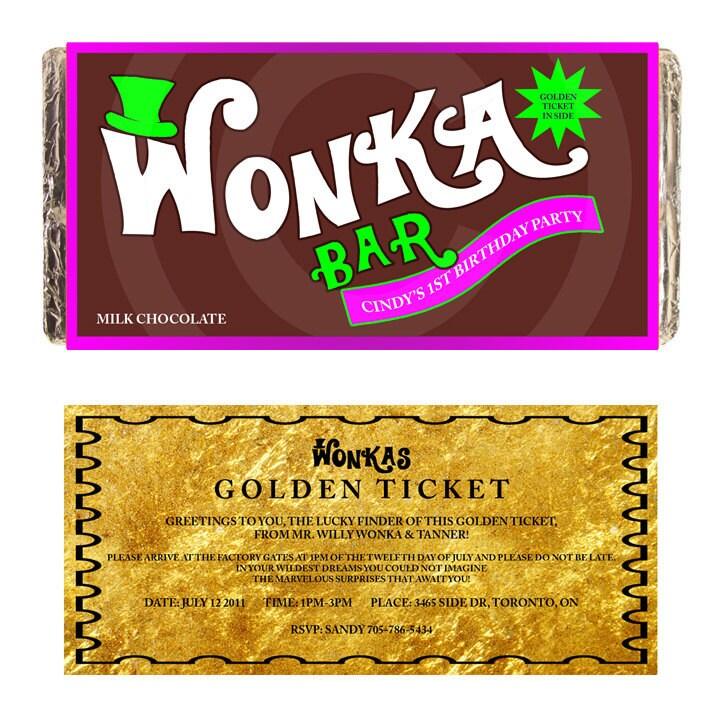 CUSTOM WONKA BAR Label customize Printable digital chocolate