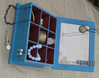 Wooden Jewelry Box Shabby Chic Turquoise & Bourdeaux , Jewelry Storage, earrings organizer