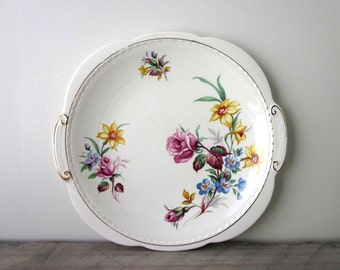 English China Cake Plate with Flowers and Gold Trim Swinnertons