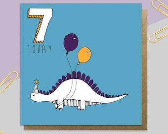 Age Seven Dinosaur Birthday Card