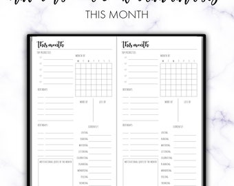 Traveler's Notebook Standard This Month Monthly MO1P Printable Insert