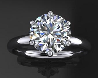 Private Listing for Sandra - custom naomi ring - 2 carat NEO moissanite engagement ring, 6 prong ring