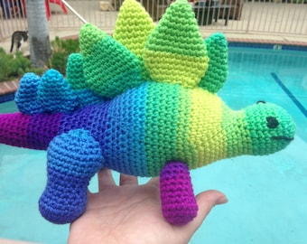 Stegosaurus Doll, Rainbow Stegosaurus, Dinosaur Doll, Dino Amigurumi, Purple Stegosaurus, Yellow Stegosaurus, Green Stegosaurus, Purple Dino