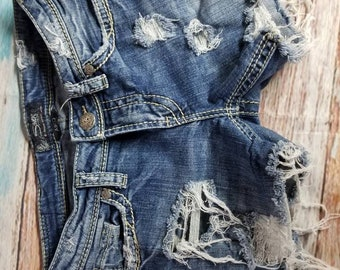 Hand Distressed Bleached Cut Off Silver Jean Co. Shorts