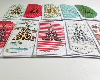 Individual Christmas Tree Cutout Card - 1 card with matching envelope