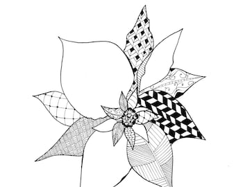 Poinsettia Pattern Drawing - Black & White Digital Download