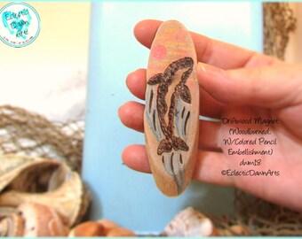 Killer Whale Magnet, Driftwood PyrographyMagnet #DWM18