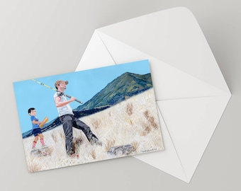 """Note Card 5 x 7"""" of Original Painting """"Father and Son"""" by Award-Winning Artist Ingrid Lockowandt Blank Greeting Card"""