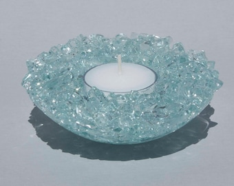 Candle holder of recycled glass | Glass candle holder with tea light
