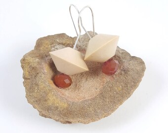 Wood bead earring, Creme earring, Czech glass, Red glass bead, Silver earring wire