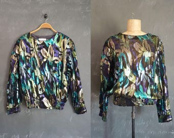 Vintage Top METALLIC MONET 1990s Cooltone Lurex Pullover Ruched Waist Semi Sheer Blouse by Teddi XL  Black Print
