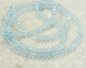 Video ! 3.5mm AA/AAA Sky blue natural Topaz rondelle faceted x5cm (1.97inch) beads for bracelet necklace luxe jewelry (#AC699)