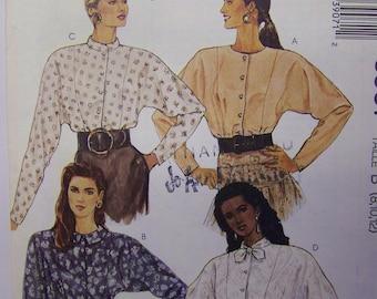 UNCUT 1980s McCall's 3907 DOLMAN Sleeve BLOUSE Pattern sz 8-10-12