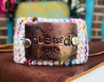 Blessed Pink Cuff Bracelet, Custom Hand Stamped Scripture Bracelet, Teacher Gift, Knit Bracelet