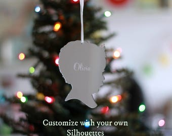 Custom Silhouette Christmas Ornaments - Personalized with YOUR OWN Silhouette and Name - Mirrored Acrylic