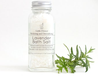 Bath Salts Lavender , essential oil bath salt, 4oz jar bath and body gift, bath soak, bath and body products, stocking stuffers for women