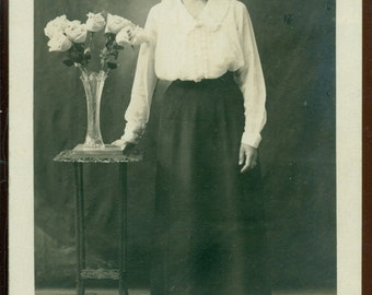 Real Photo Postcard Figural Unidentified Younger Lady 1910 to 1930 AZO Stamp Box