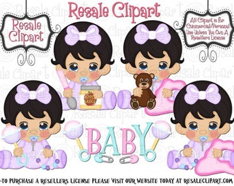 LiL Baby Girl Pink 1 Clipart (Digital Download)