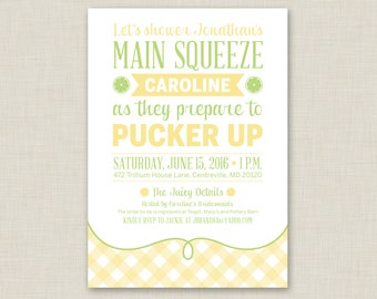 Printable / Pucker Up / Lemon Bridal Shower Invitation / Summer Bridal Shower