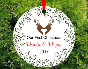 Our First Christmas Ornament First Christmas Married Mr & Mrs Ornament   Woodland Deer Ornament   Fawn Holiday Ornament   1st Christmas Gift
