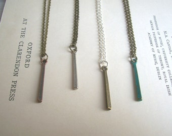 Simple Bar necklace - mixed metal charms - minimalist jewellery - nickel free