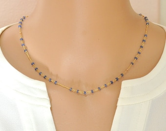 14K Gold Blue Sapphire Necklace / 14K Yellow Gold / Blue stone Necklace / September birthstone Jewelry / Blue Sapphire Gold Necklace