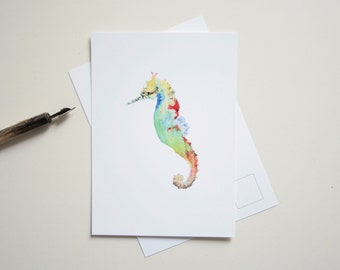 Carte postale hippocampe, impression d'une illustration marine.