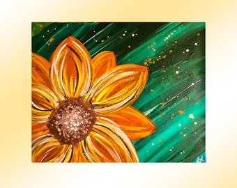 Abstract Sunflower, Original Abstract Painting, 16 by 20, Wall Art, Abstract Flower, Sunflower Art