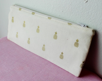 Gold Metallic Pineapple Pencil Pouch