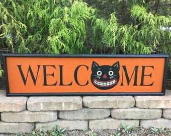 Halloween, Welcome, Sign, Black Cat, Folk Art, Framed Sign, Halloween Welcome Sign, Halloween Sign, Halloween Black Cat, Primitive, Prim Cat