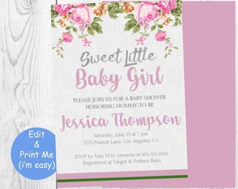 Baby shower invitation printable, Girl Invite, Light Pink Rustic Florals Flowers, Instant Download Template, Ready to pop, Expecting Little