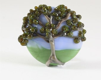 Handmade Lampwork Glass Bead SRA , Tree Focal