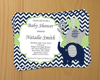 Baby Shower Invitation Elephant Baby Shower Invitation Boy