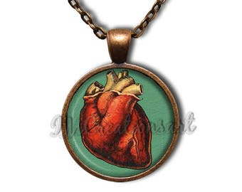 Halloween Red Heart Glass Dome Pendant or with Chain Link Necklace HD232